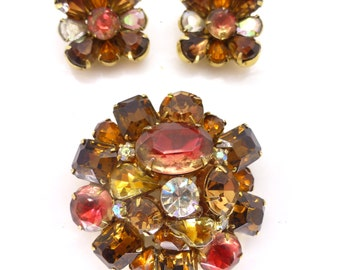 Vintage Signed Kramer Rhinestone Large Brooch Pin & Earring Set