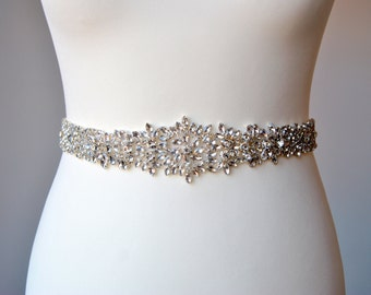 Bridal Sash Wedding Dress Sash Belt, Rhinestone Crystal Sash Bridal Bridesmaid Sash Belt, dress sash All The Way Around