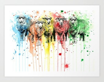 We are all sophisticated sheep original watercolour artwork by Psyca