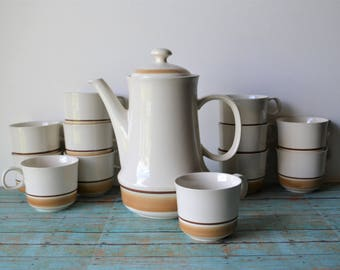 14 Piece Water Colors Dawn by Hearthside Stoneware Coffee Pot / Teapot And 12 Matching Cups - Made In Japan