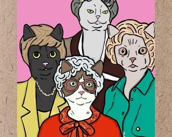 Golden Girls + Cats / Thank you for being a friend / Postcard Art Print