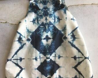 Baby Harem Romper - Shibori, Tie-Dyed in Indigo Sizes 0000 to 2