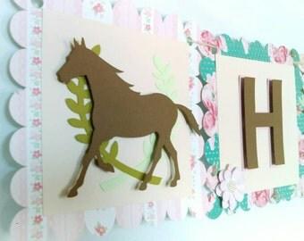 Western birthday banner, cowgirl birthday banner, horse birthday party decor, shabby chic