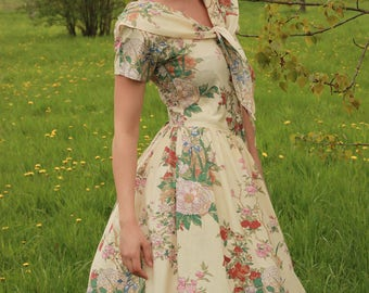 Floral 50s spring dress - Made in USA