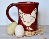 Chicken Mug in Firebrick Red