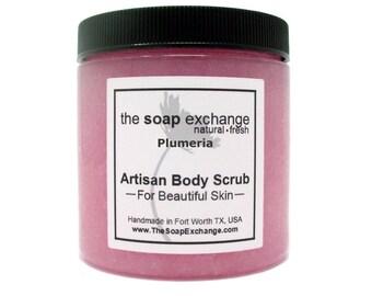Plumeria Body Scrub, Sugar Scrub, Salt Scrub, Exfoliating Natural Scrub, Body Polish, Skin Care, Shea Butter, The Soap Exchange