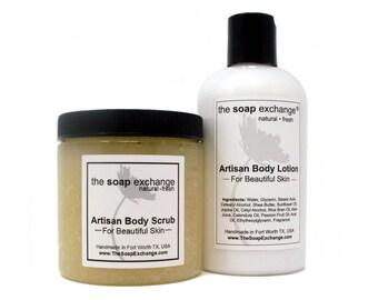Body Scrub & Body Lotion Gift Set 2 Pc, Bath Set, Body Care Set, Beauty Collection, Gift Bundle, Natural Body, by The Soap Exchange ®