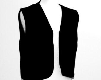 Black vest / Crop top black / velvet vest / hipster vest / gypsy vest / retro vest / vintage vest