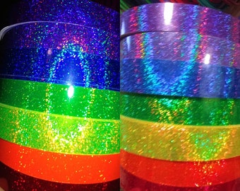 Rainbow colors- Holographic sparkle, red, orange, yellow, green, blue, indigo or violet taped hula hoop of choice,  polypro, hdpe, pe