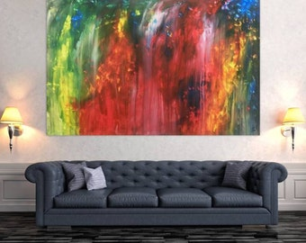 XXL abstract painting 150x200cm modern acrylic art on canvas and frame #307