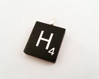 Scrabble Tile Pendant, Black and Silver Scrabble Tile Necklace