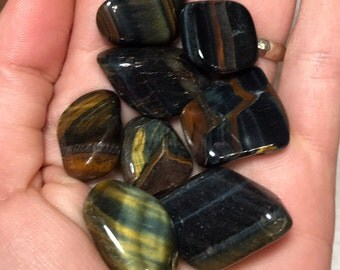 Blue Tigers Eye, Tumbled Blue Tigers Eye, Tigers Eye, Tumbled Tigers Eye, Tumbled Stones, From South Africa, SM