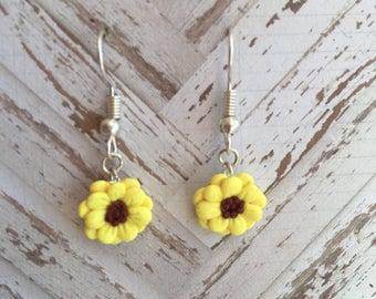 Delicate Sunflower Dangle Earrings