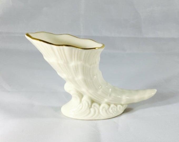 Storewide 25% Off SALE Vintage Lenox White Porcelain Petite Cornucopia Vase Featuring Gold Painted Trim Design