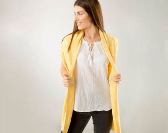 Yellow Scarf/ Butterscotch Yellow Cashmere Scarf/Yellow Silk Scarf/Butterscotch Yellow Cashmere lightweight scarf
