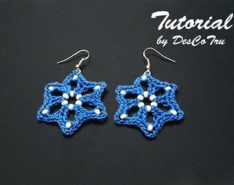 Crochet Star Earrings with Beads Tutorial – 2 Patterns -  Do It Yourself – Make your own earrings – Beaded Crochet Earrings Pattern