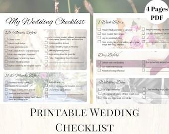 Wedding Checklist, Printable Wedding Checklist, Printable Wedding Planner,  Wedding Printables, Wedding Planning