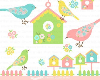 Bird / Bird Garden / Bird House / Flower / Garden Fence Clip Art - Instant Download - CA087