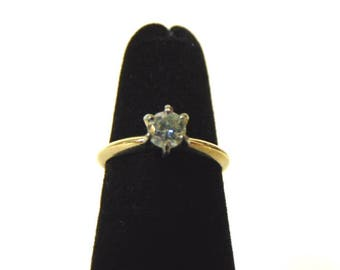 Women's Vintage Estate 14K Yellow Gold Diamond Solitaire Ring, 1.7g E2044