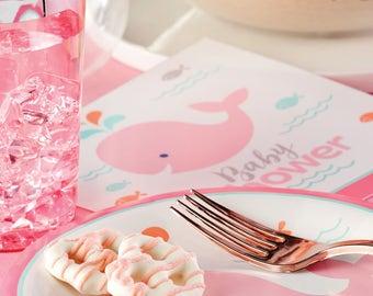 My Li'l Whale party Dessert Plates / Whale Party / Whale theme baby shower / Whale baby shower /pink whale