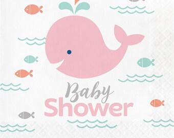My Li'l Whale girly Baby Shower Napkins / Whale Party / Whale theme baby shower / Whale baby shower