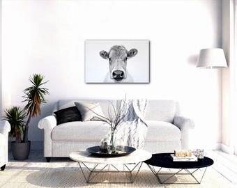 Cow Canvas Art Print, Cow Decor, Cow Drawing, Cow Art, Canvas Art,