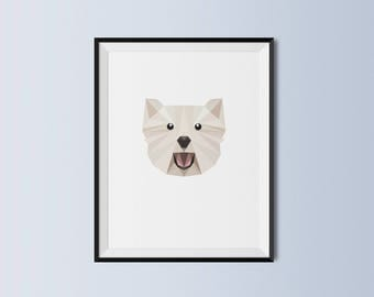 West Highland Terrier | Westie Dog Art Print | West Highland Terrier Custom Print | West Highland Terrier Geometric Art