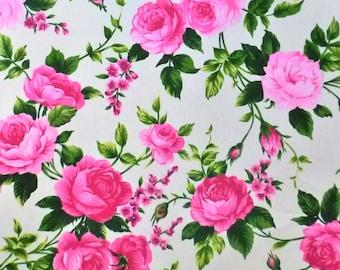 Pink Roses 100% cotton FQ Fat Quarter 1/2 Half Full Metre