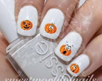 Halloween Nail Art Pumpkins Water Decals Transfers Wraps