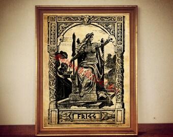 Frigg and Fulla print,  Norse mythology, nordic goddess illustration, scandinavian decor, Frigga poster, wall art #334