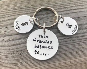 This Grandad belongs to.. hand stamped personalised keyring, grandad gift, grandad keyring, granda keyring, papa keyring, Father's Day
