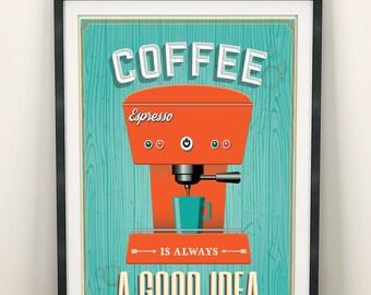 Retro Coffee machine kitchen decor, Espresso kitchen wall art, Kitchen prints, Coffee Retro print, Espresso, Kitchen print, Espresso machine