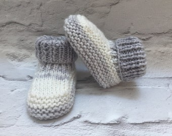 Hand knitted bootees, Grey booties, hand knitted booties, neutral booties, modern booties, 0-3 months, baby shower gift, newborn baby gift
