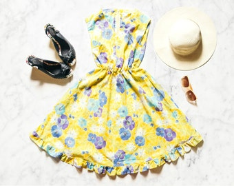 80s Floral Dress | Yellow Dress | Floral Mini Dress | Yellow Mini Dress | Yellow Floral Dress | Casual Summer Dress - Size XS or Youth