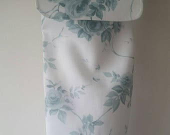 Handmade white with blue-grey roses fabric plastic carrier bag holder storage with flap.