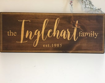 Laser Engraved Last Name Sign. Personalized Wooden Sign. Welcome Sign