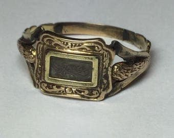 Antique victorian 9k Yellow Gold Mourning Hair Ring