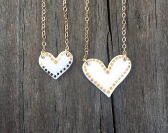 Dot bordered porcelain heart necklace