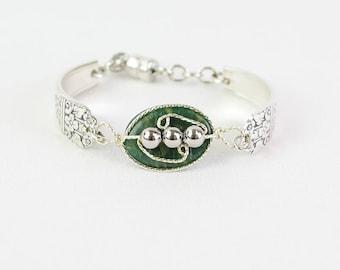 Exclusive Jade Silverware Bracelet- Gemstone Bracelet -Vintage Spoon Bracelet -Handmade Jewelry - Eco-Friendly Jewelry -One Of A Kind