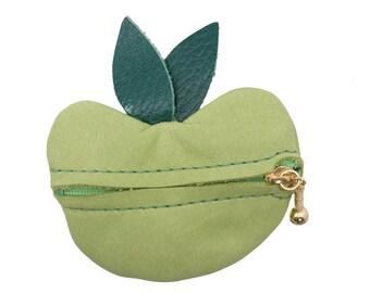 Deerskin Apple Change Purse: Green
