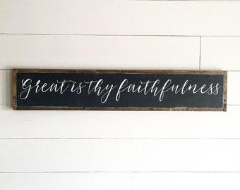 Great is thy faithfulness | scripture | hymn wood sign | fixer upper decor | wall art | farmhouse wood sign