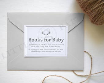 Books for Baby request card, Printable Books for Baby card, Oh Deer Baby Shower, INSTANT DOWNLOAD