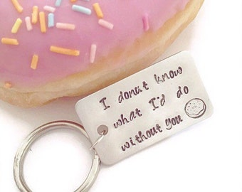 Donut keychain - Mother's Day gift - doughnut keyring - girlfriend keyring - boyfriend keychain - food gift - Funny gift