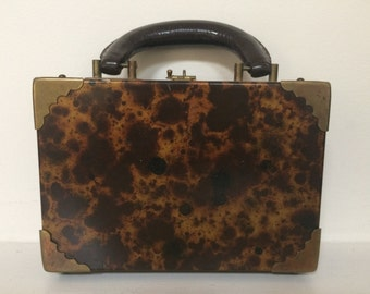 Tortoiseshell Pattern Top Handle Handbag