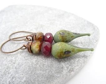 Lampwork Glass Earrings, Lampwork Earrings, Czech Glass Earrings, Rondelle Earrings, Green Earrings, Burgundy Earrings, Brown Earrings.
