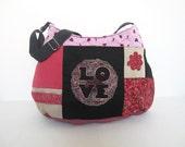 Sac à main lin fleuri noir fuchsia,sac lin ancien,dentelle ancienne,sac patchwork,sac romantique,sac plissé,sac zippé,bobo,glamour