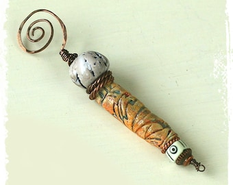 Polymer clay and copper wire spiral pendant, Tribal primitive rustic component, Art bead component,