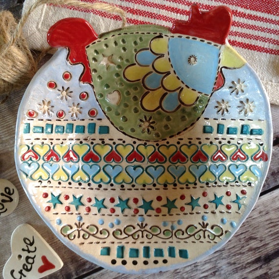 Handmade Ceramic Dish, patterned bowl, hen dish, decorative, cheerful, ideal gift