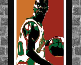 Seattle Supersonics Gary Payton Portrait Sports Print Art 11x17