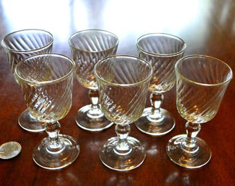 Set of 6 Acoroc Swirl Cordial or Apertif Glass, Clear France Cordial Glass, Liqueur